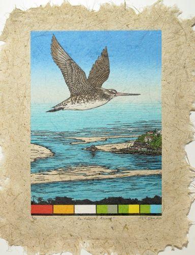 Jo Ogier, The Godwit's Ascent, woodcut on NZ Flax paper (580 x 460), from an edition of 30, 2012. NZ$880 incl GST framed; NZ$580  incl GST unframed.