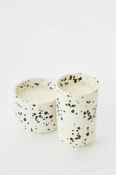 OUI Speckled Black + White Ceramic Soy Candle, $34-$38 (Made in Oklahoma City, Oklahoma) #madeinusa #madeinamerica