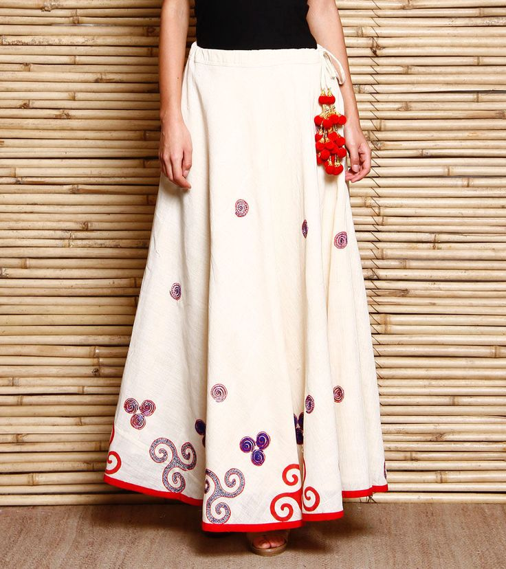 White, Red & Blue Trinity Printed Khadi Skirt