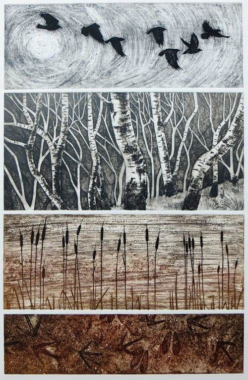 Winter collagraph, Hester Cox printmaker