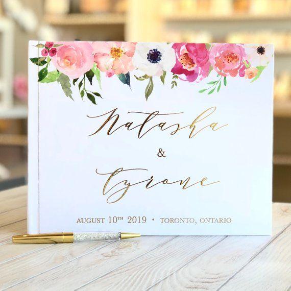 Gold Foil Wedding Guest Book Custom Wedding Guestbook Personalized Wedding Album Rustic Guest Book Floral Wedding Guest Book Gold Foil Ideas