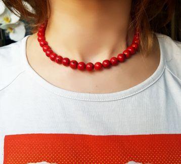 Kırmızı Boncuk Kolye / mercan taşı görünümlü