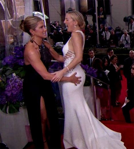 Jennifer Aniston Grabs Kate Hudson's Ass Hard at Golden Globes - Us Weekly LOL!! So funny! And they both look flawless!