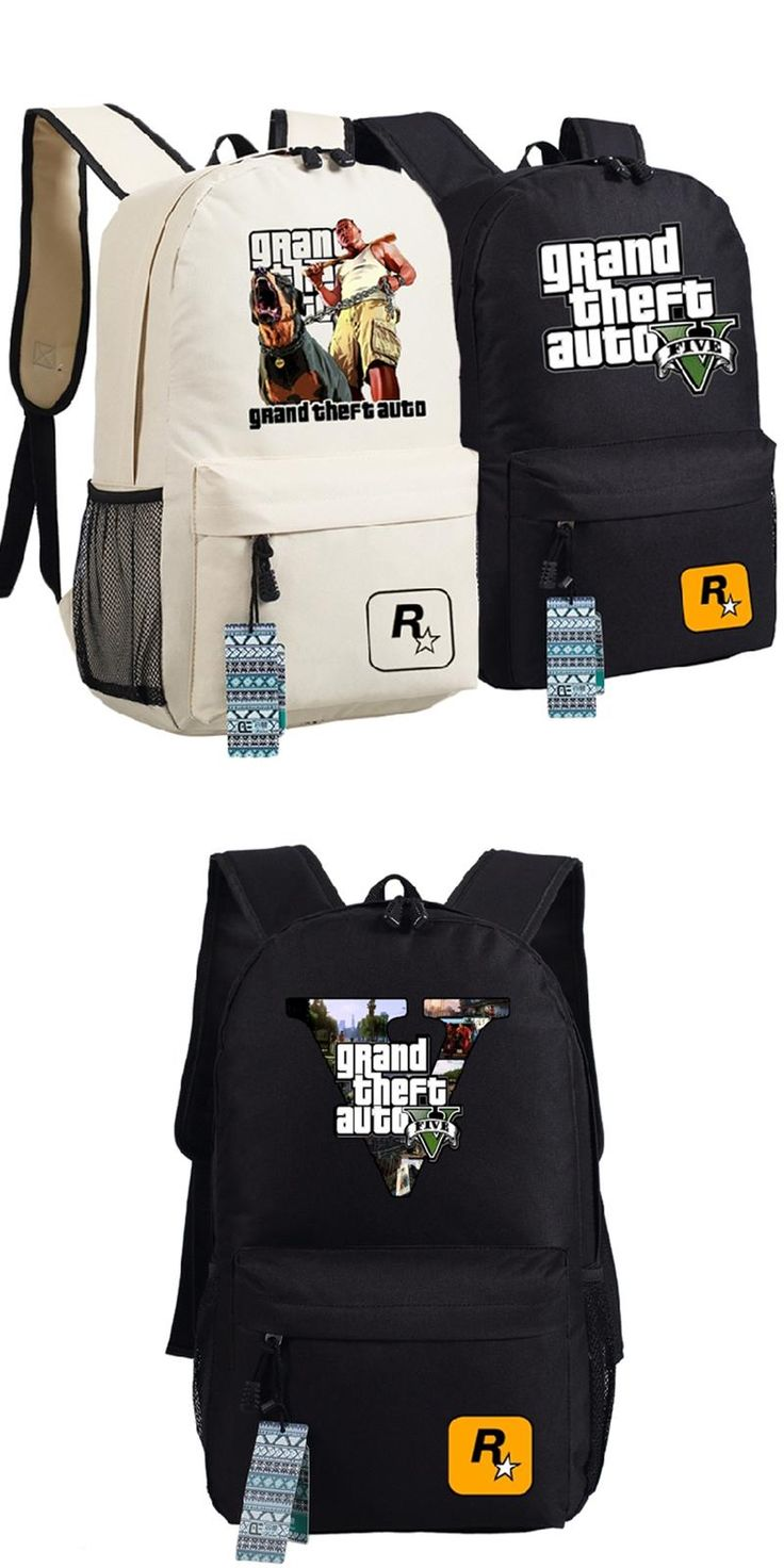 [Visit to Buy] High Quality 2017 New Game Grand Theft Auto GTA5 Unisex Printing Canvas Fashion Backpack School Bags for Teenagers #Advertisement