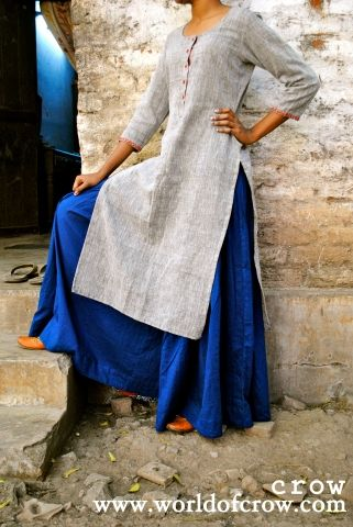 Adapt this look for office wear as Grey khadi kurti with Royal blue salwar and silver earings(depending on your face shape and preference) . keep you hairs down and it will a cool summer outfit. dont forget to put kohl ...For me kohl works when everything else fails on me .
