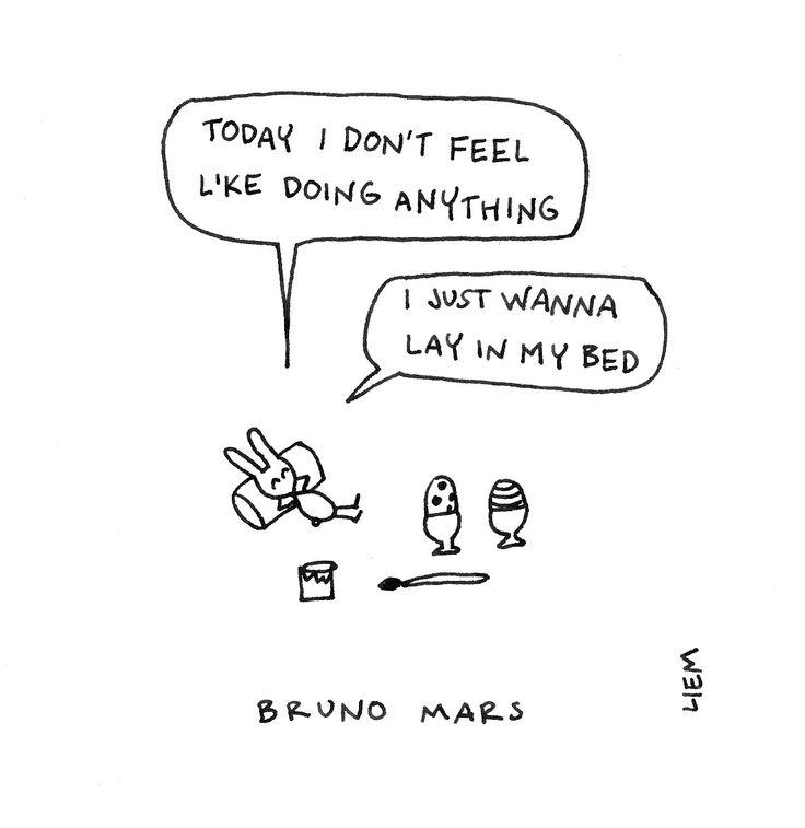 Bruno Mars. The Lazy Song. 365 illustrated lyrics project, Brigitte Liem.