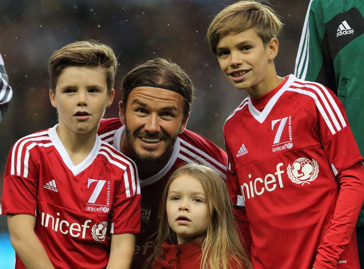 """David Beckham's Children Show Their Love and Support for Dad at """"Incredible"""" Charity Soccer Match  David Beckham, Cruz Beckham, Harper Beckham, Romeo Beckham"""