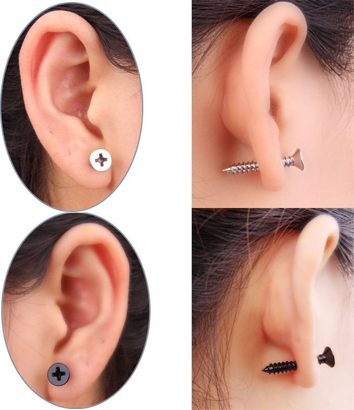 2pcs 1 Pair Unisex Stainless Steel Screw Illusion Earrings Studs Bolt Nail Punk #Unbranded #Stud