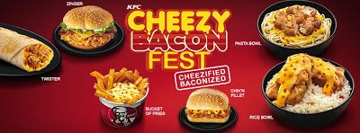 KFC Philippines - New Cheezy Bacon Fest | The festival is basically the option to put bacon and cheese on most of the KFC menu.  Pasta Bowl (chicken on top of spaghetti), Rice Bowl, Twister, Chik'n Fillet (basically a KFC Snacker), Zinger (extra crispy chicken sandwich), Bucket of Fries, and Mashed Potatoes.
