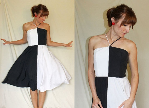 1960s HALTER DRESS // black & white color by somethingborrowedvtg, $68.00