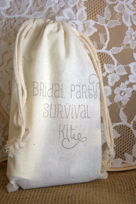 Bridal Party Survival Kit BAGS ONLY  - Bridesmaids, Maid of Honor, Matron of Honor, Flower Girl - Wedding Party Favors or Gifts. $4.00, via Etsy.