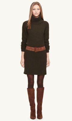 Wool-Cashmere Sweater Dress - Black Label Short Dresses - RalphLauren.com