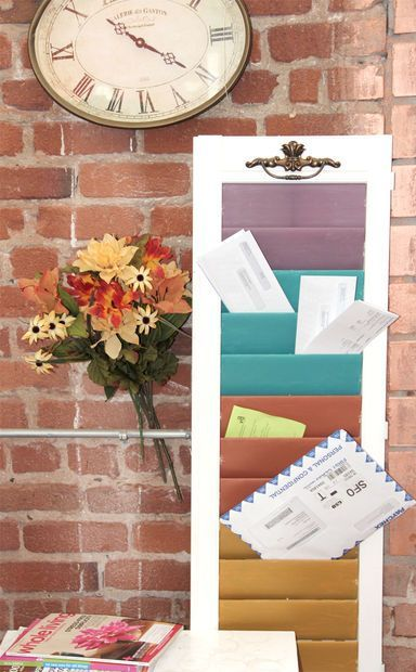 reurpose an old window shutter into a chic mail sorter!  Its a great way to keep your mail organized and it makes great wall decor.