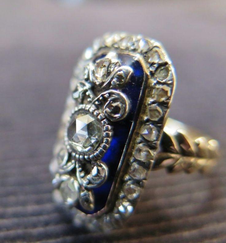 ヴィクトリアン初期 金にブリストルガラス ローズカットダイヤのリング - CROA クロア