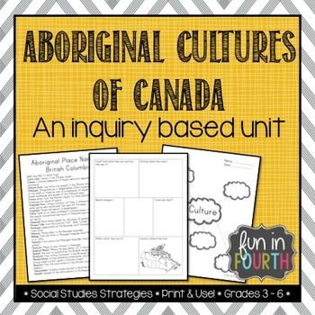 Do you teach Social Studies in Canada? Do you teach about Aboriginal Cultures? You need this file! It contains a variety of activities to meet your curriculum (especially if you teach grade 4 in British Columbia)! You will get: Cultures/basic needs brainstorming charts for individual/small group/whole class use Black line masters for an aboriginal cultures research and poster presentation project Aboriginal Tools presentation/lesson/anchor charts Resources for aboriginal story telling an...