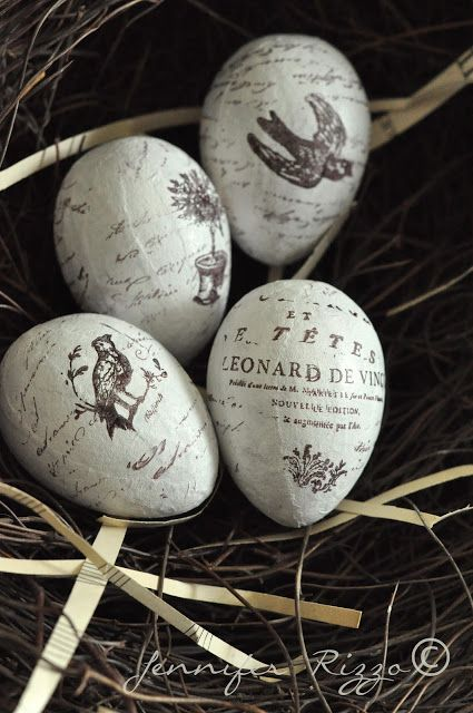 Make hand stamped Easter eggs