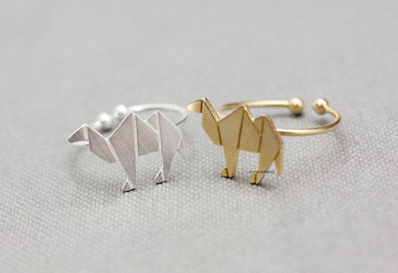 Adjustable Cute Origami Camel Ring / Camel ring / by curiousfriend