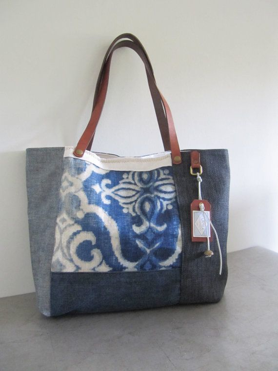 Tote bag linenhemp and denim por LAMILAcanvas en Etsy