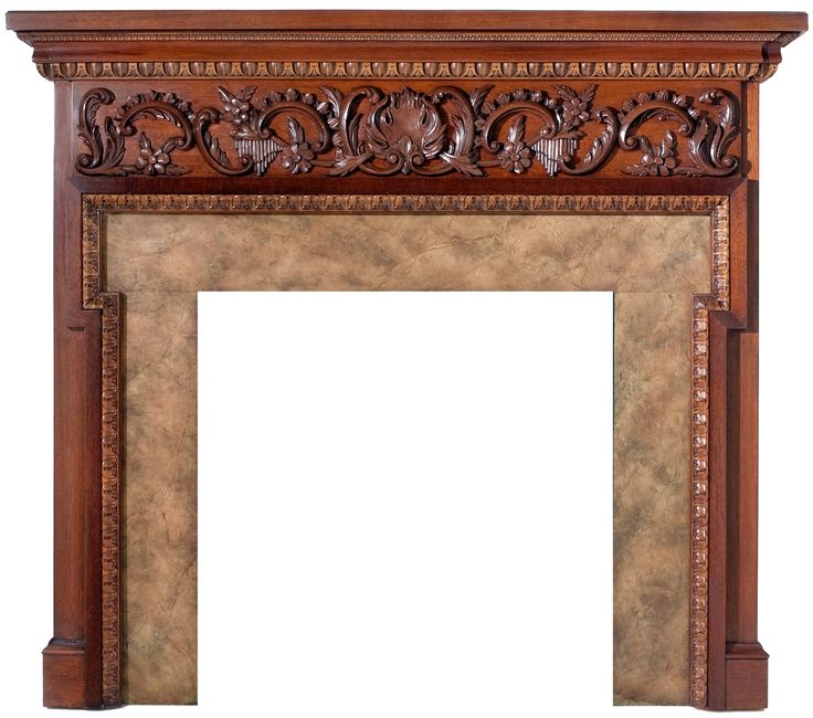 Chippendale Style Wood Fireplace Mantel with hand carved shell/floral/scroll apron and deep sculpt leaves and egg & dart. Prices are based on size, species and custom specifications. Also available in walnut, mahogany, cherry, oak & maple. Standard woods are a combination of maple and poplar.   Please send fax or e-mail for free estimate. Marble not included. Under 48'' wide opening. USD 4,000