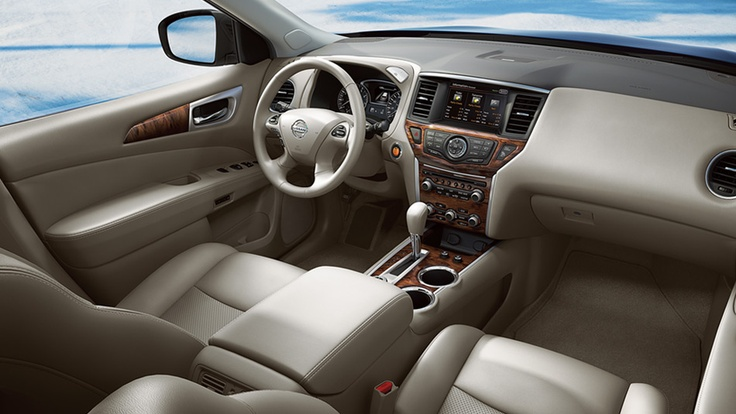 Nissan Pathfinder Platinum shown in Almond Leather with optional equipment | www.crownnissan.ca