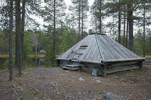 Samiske bygninger i Hedvallen, Sweden. Sverige. Riksantikvarieämbetet