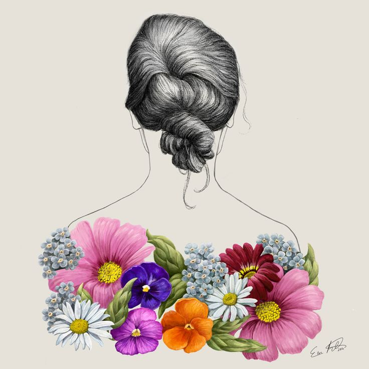 Eeva Meltio: Flower Lady. Digital painting.