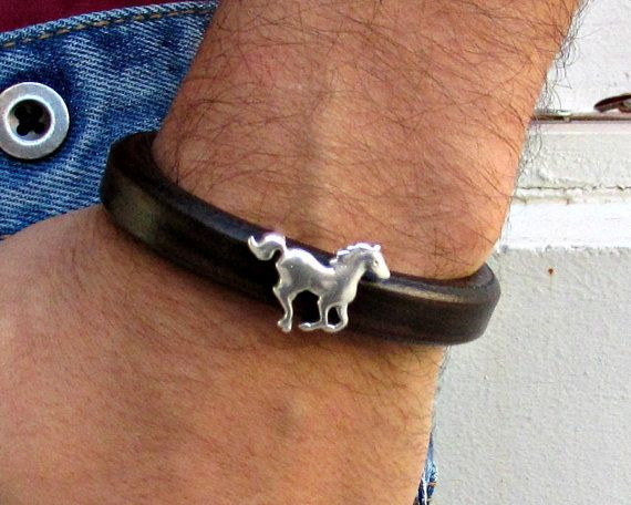 Running Horse Mens Leather Bracelet Cuff Silver Plated by GUSFREE