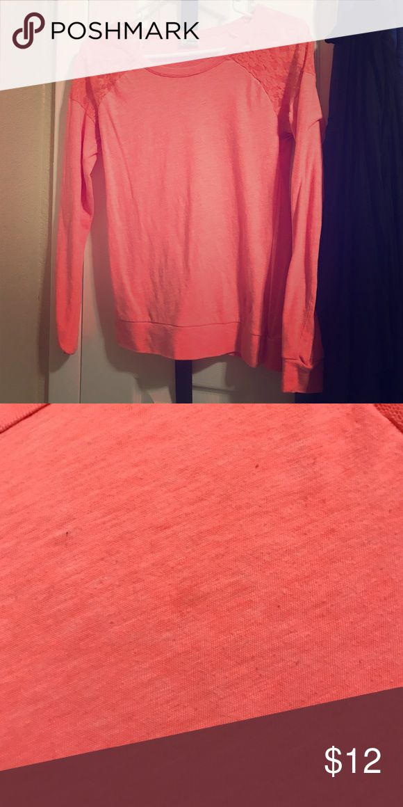 PINK coral shirt PINK coral lace on sleeves shirt. Worn only once. has a speck of an oil spot on it. otherwise in good conditions. PINK Victoria's Secret Tops Tees - Long Sleeve