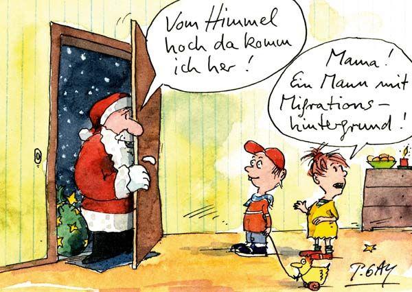 """Peter Gaymann Postkarte """"Ein Mann mit Migrationshintergrund"""""""