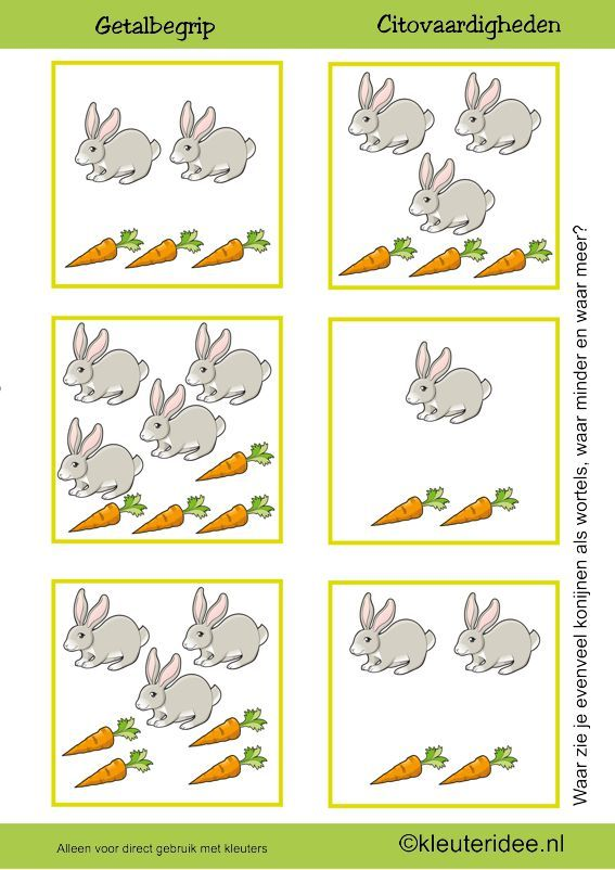 Citovaardigheden voor kleuters, kleuteridee.nl ,meten en getalbegrip, Waar zie je evenveel, waar meer en waar minder wortels dan konijnen , rekenen voor kleuters.