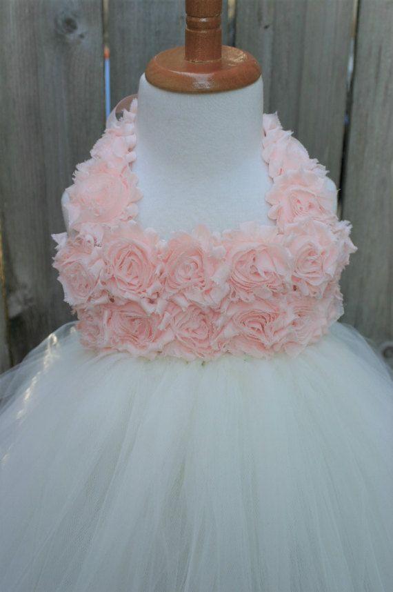 Blush y marfil vestido vestido de la muchacha de flor del