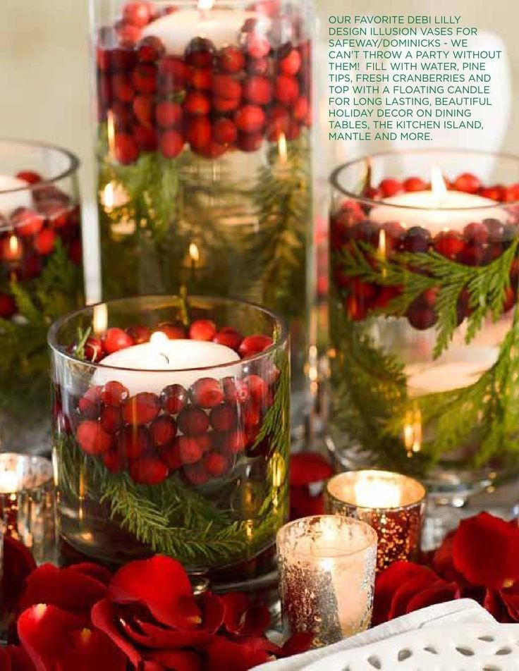 Handmade 2015 Christmas floating candles with twigs and cranberries in the jars - Christmas candle decor, Christmas easy made craft