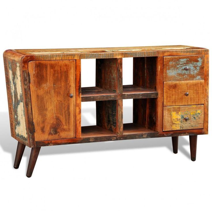 #bNew Reclaimed Home Furniture Vintage Wood Storage Cabinet Stand 3 Drawers 1 Do