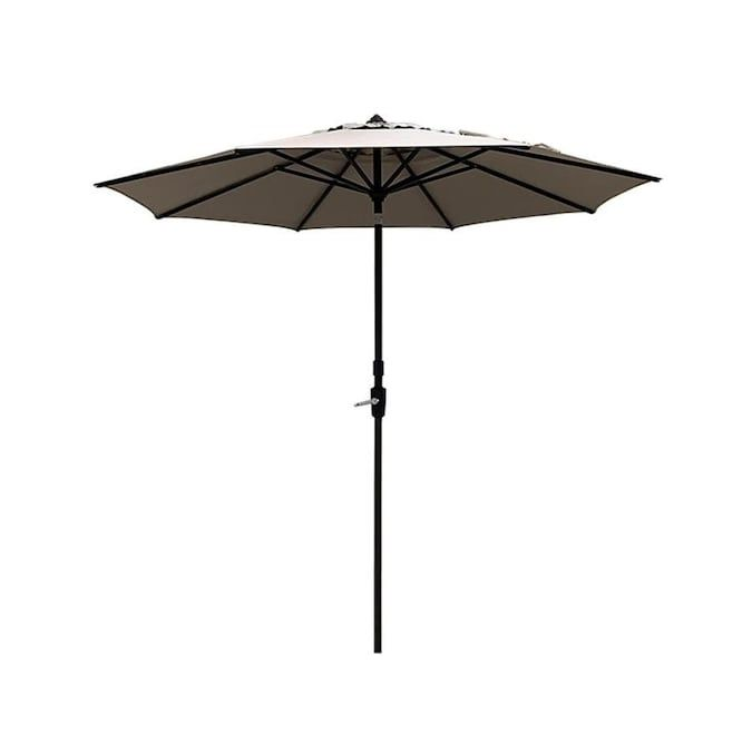 Simply Shade 9 Ft Octagon Greige With Dark Brown Aluminum Frame Slide Tilt Market Patio Umbrella Lowes Com In 2020 Patio Umbrella Patio Octagon