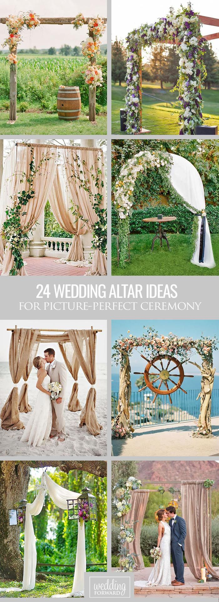 24 Picture-Perfect Wedding Ceremony Altar Ideas ❤ Here are a few of our absolute favorite wedding ceremony altar ideas! See more: http://www.weddingforward.com/wedding-ceremony-altar-ideas/ #weddings #decorations