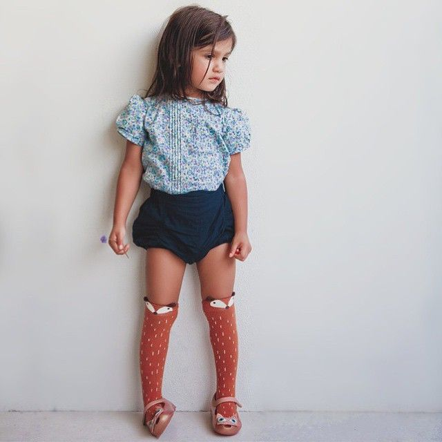 liberty blouse, navy poplin bloomers and fox socks--ADORABLE! #estella #kids #fashion