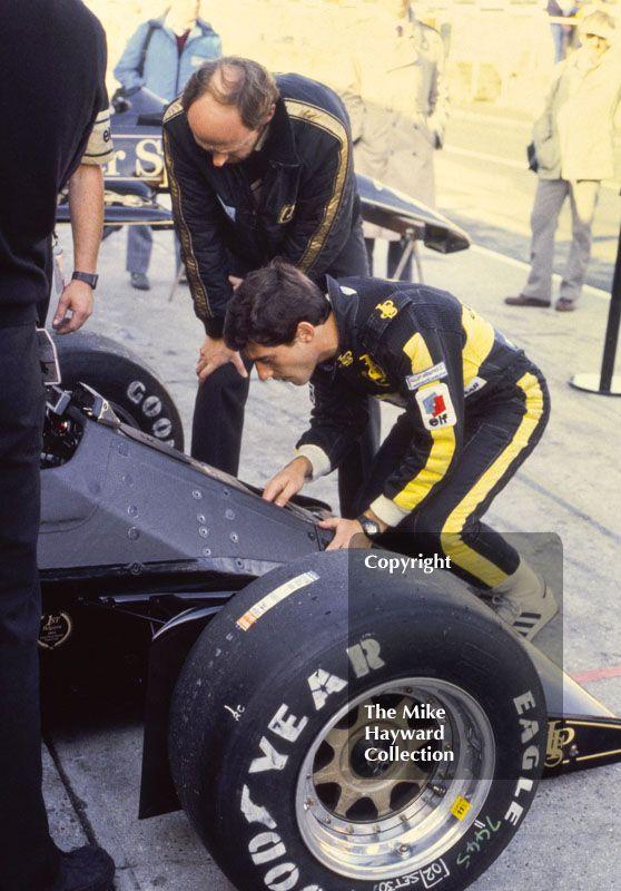 Ayrton Senna, Lotus 97T, in the pits at Brands Hatch, 1985 European Grand Prix. #f1 #formula1
