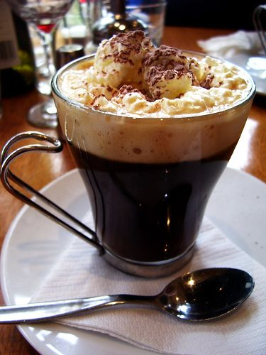 Great for a rainy afternoon in, make this favorite coffee by topping a few shots of expresso with whipped cream. Though not for the diet-conscious, be sure to share this sinful brew with houseguests and friends.