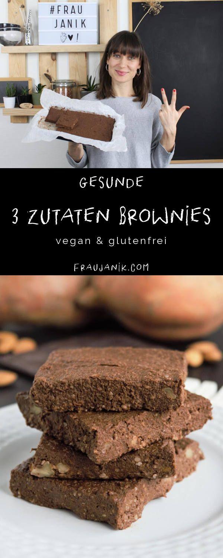 Healthy 3 Ingredients Brownies | gluten free, vegan & without food processor!