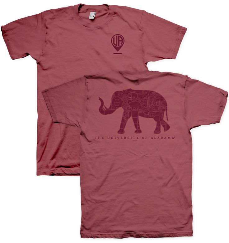 Alabama Elephant Campus Map - Officially Licensed University of Alabama Comfort Color T-Shirt