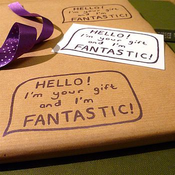 Handmade 'Fantastic Present' Wrapping Paper