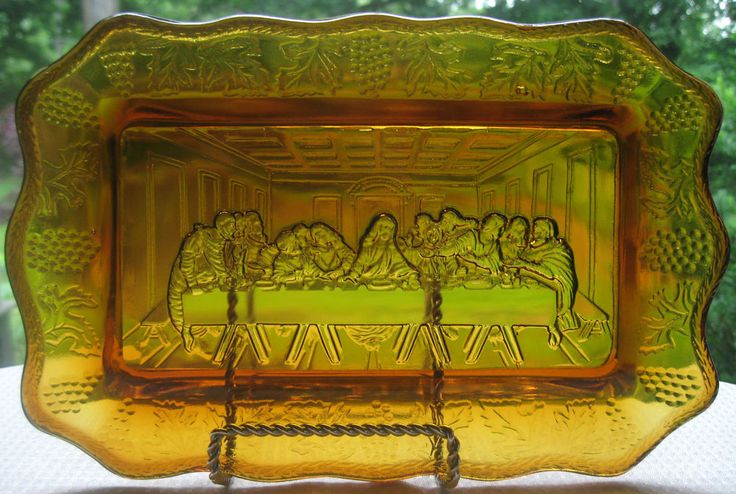 Tiara Indiana Glass Amber Lord's Supper Bread Tray #IndianaGlass
