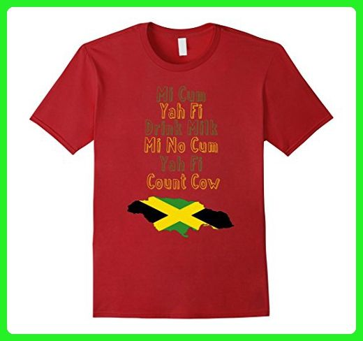 Mens Drink Milk - Jamaican Proverb T-Shirt Large Cranberry - Food and drink shirts (*Amazon Partner-Link)