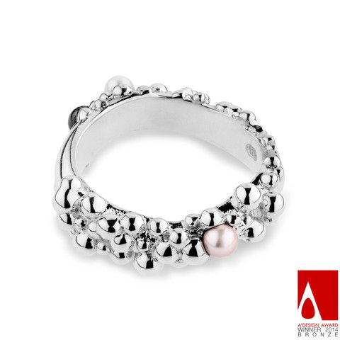 Award winning silver droplet ring by Little Rambutan Jewellery Natured Inspired made in sterling silver with fresh water pearls