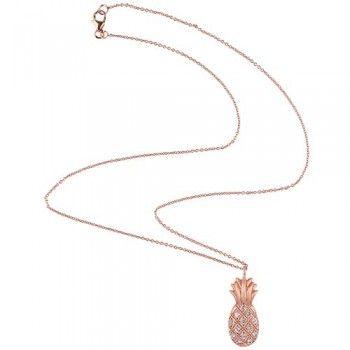 PINEAPPLE Halskæde formet som ananas i rosa forgyldt sterling sølv med hvide topas ædelsten.