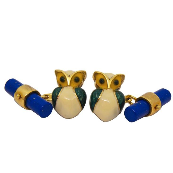 Hand Enameled Little Owl Lapis Lazuli Stick Back Yellow Gold Cufflinks | From a unique collection of vintage cufflinks at https://www.1stdibs.com/jewelry/cufflinks/cufflinks/