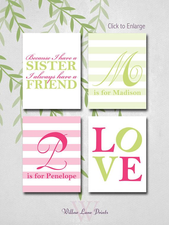 personalized sisters bedroom art, because I have a sister nursery print, twin girls wall decor, twin baby gifts, custom colors on Etsy, $30.00