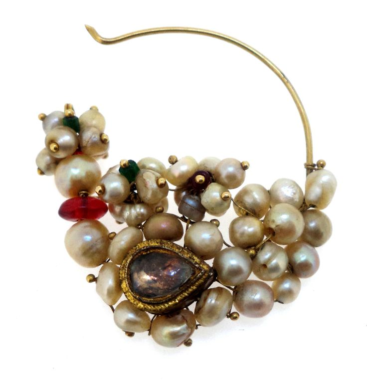 Antique pearl nose ring from Himachal pradesh