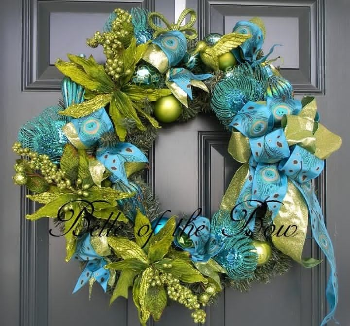 Turquoise and lime christmas decorations large peacock