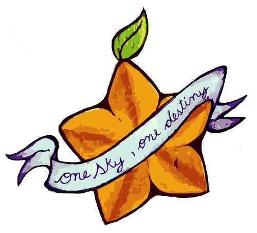 'One sky, one destiny' Good tattoo idea. Papau fruit too purdy. Geekin'.